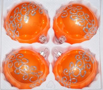 """4 tlg. Glas-Weihnachtskugeln Set 12cm Ø in """" Hochglanz-Orange-Silberne-Ornamente"""""""