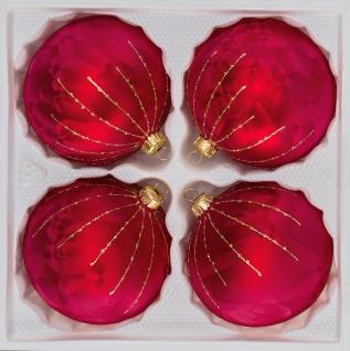 """4 tlg. Glas-Weihnachtskugeln Set 12cm Ø in """" Ice Rot Gold"""" Regen"""
