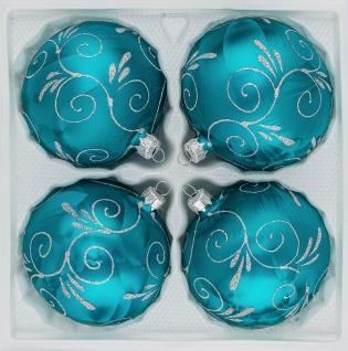 "4 tlg. Glas-Weihnachtskugeln Set 10cm Ø in "" Ice Petrol-Türkis Silber Ornamente"""
