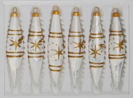"""6 tlg. Glas-Zapfen Set in"""" Ice Weiss Gold"""" Komet"""