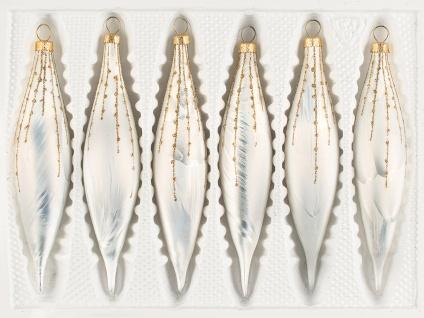 """6 tlg. Glas-Zapfen Set in """" Ice Weiss Gold"""" Regen"""