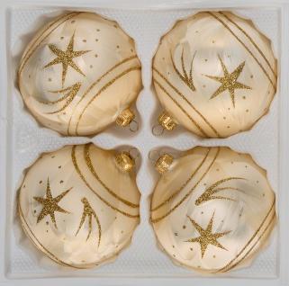4 tlg. Glas-Weihnachtskugeln Set 10cm Ø in Ice Champanger Gold Goldener Stern