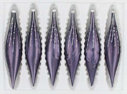 """6 tlg. Glas-Zapfen Set in """" Ice Graphit Silber"""" Regen"""