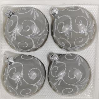 4 tlg. Glas-Weihnachtskugeln Set 12cm Ø in Hochglanz Modern Grau Weisse Ornamente