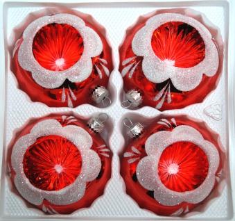 """4 tlg. Glas-Weihnachtskugeln Set 8cm Ø in """" Hochglanz Vintage Rot"""""""
