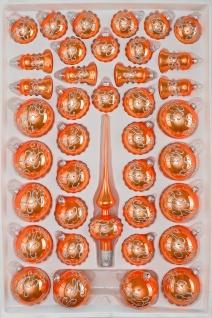 """39 tlg. Glas-Weihnachtskugeln Set in """" Hochglanz-Orange-Silberne-Ornamente"""