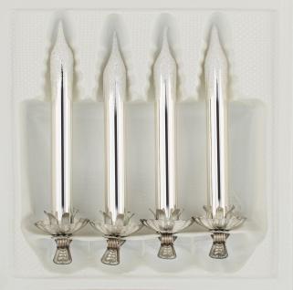 """4tlg. Glas-Baumkerzen Set in """" Hochglanz Vintage Silver"""" - Weihnachtsbaumkerzen"""