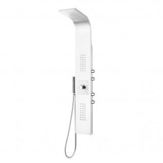 Edelstahl Duschpaneel Weiß Thermostat mit Massagejets & Wasserfall