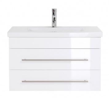 """Badmöbel """" Highline Slim"""" 80cm, mit Waschtisch und Unterschrank Farben: weiß hochglanz, anthrazit seidenglanz"""