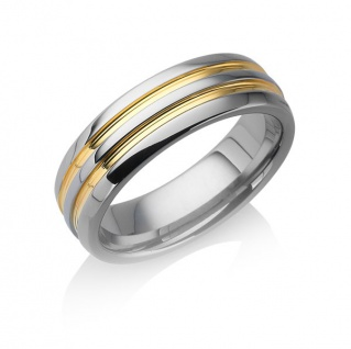 "Tungstino Ring "" 24k Gold Lines"" Wolframcarbid"