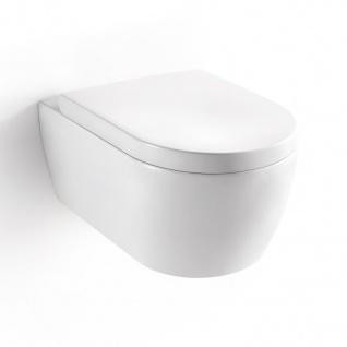 Soho 2.0 Hänge Wand WC mit geschlossenem Unterspülrand - Tiefspüler - Brillant Weiss mit Duroplast WC-Sitz und Nano Beschichtung