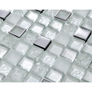 Mosaik Fliese aus Edelstahl, Harz und Glasmosaik - crushed ice
