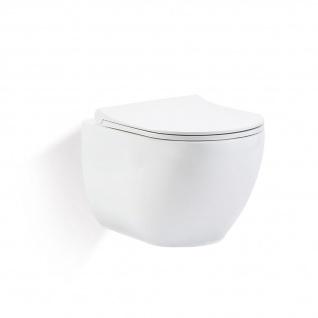 Park Hänge Wand WC Spülrandlos Toilette Weiß Matt mit WC-Sitz