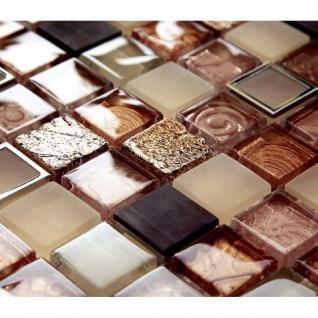 Mosaik Fliese aus Edelstahl Naturstein Messing und Glasmosaik - beige/orange