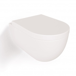 Soho Hänge Wand WC Spülrandlos Toilette Weiß Matt mit WC-Sitz