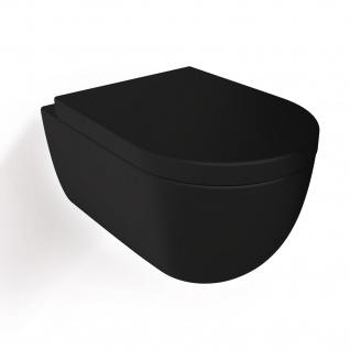 Soho Hänge Wand WC Spülrandlos Toilette Schwarz Matt mit WC-Sitz