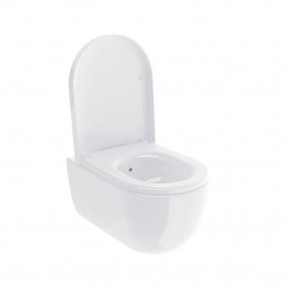 Soho Hänge Wand Dusch WC Taharet RIMLESS / RANDLOS Toilette Brillant Weiss mit WC-Sitz