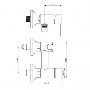 Design WC/Bidet Handbrause Komplett Set mit Mischer Aufputz - Vorschau 2