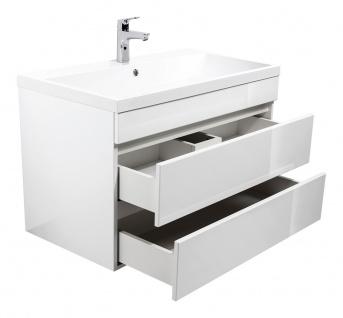 """Badmöbel """" Soho"""" 70 & 90cm Grifflos mit Waschtisch und Unterschrank in Weiß Hochglanz"""