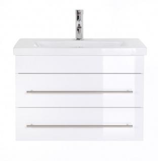 """Badmöbel """" Highline Slim"""" 70cm, mit Waschtisch und Unterschrank Farben: weiß hochglanz, anthrazit seidenglanz"""