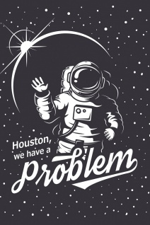 Astronaut Houston Illustration Kunstdruck Poster P0393