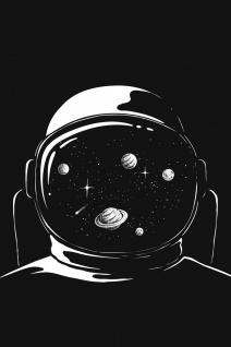 Astronaut Planeten Helm Weltraum Illustration Kunstdruck Poster P0390