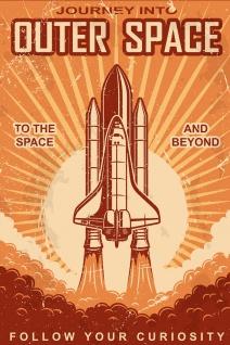 Space Shuttle Retro Illustration Kunstdruck Poster P0398