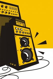 Verstärker AMP Musik Illustration Kunstdruck Poster P0433