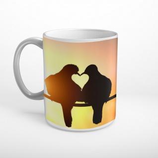 Tauben Liebe Herz Sonnenuntergang Tasse T1860