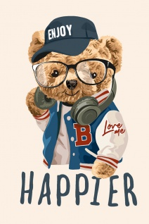 Teddy Hipster Illustration Kunstdruck Poster P0311