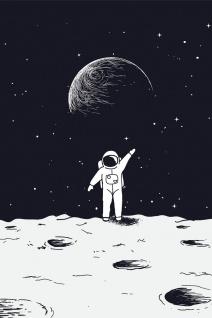 Astronaut Mond Erde Weltraum Illustration Kunstdruck Poster P0381
