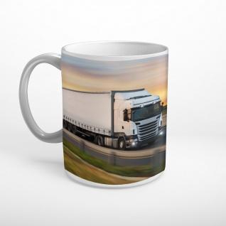 LKW Truck Landstraße Sonnenuntergang Tasse T0961