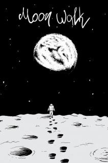 Astronaut Mond Erde Moon Walk Illustration Kunstdruck Poster P0409