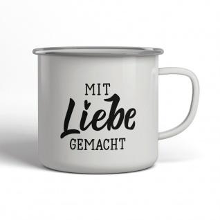 Mit Liebe Gemacht Emaille Becher Spruch Tasse TE0006