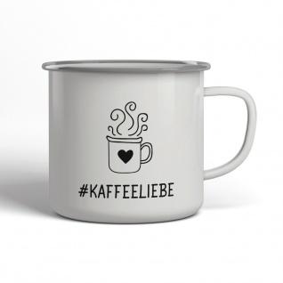Kaffeeliebe Emaille Becher Spruch Tasse TE0049