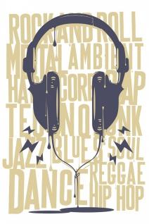 Kopfhörer Musik Genres Illustration Kunstdruck Poster P0454