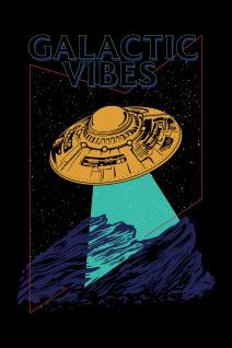 UFO Lineart 80s Illustration Kunstdruck Poster P0404