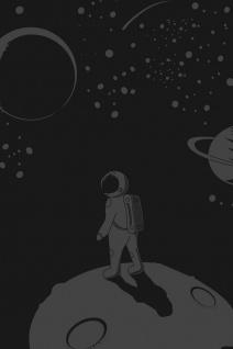 Astronaut Mond Erde Weltraum Illustration Kunstdruck Poster P0383