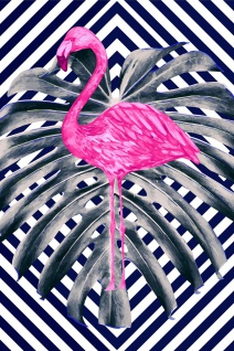 Flamingo Palme Illustration Kunstdruck Poster P0314