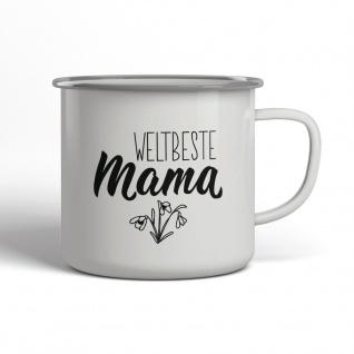 Weltbeste Mama Emaille Becher Spruch Tasse TE0047