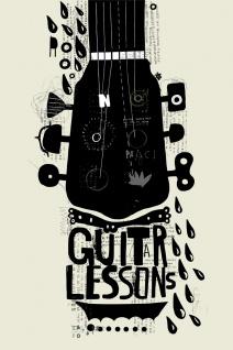 Gitarre Schule Musik Illustration Kunstdruck Poster P0448