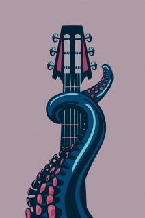 Tentakel Gitarre Musik Illustration Kunstdruck Poster P0478