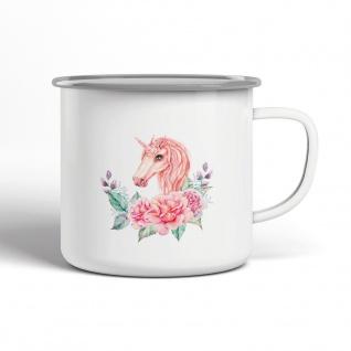 Einhorn Pink Blumen Emaille Becher Motiv Tasse TE0058