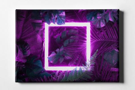 Neon Quadrat Urwaldblätter Leinwand L0101