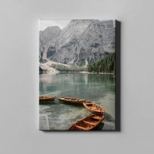 Gebirge See Ruderboote Wald Landschaft Leinwand L0376