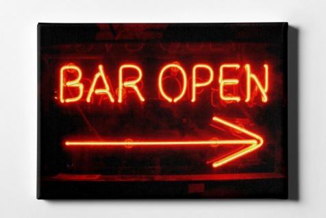 Neon Schild Bar Open Leinwand L0087