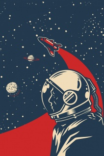 Astronaut Retro Vintage Illustration Kunstdruck Poster P0407