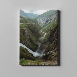 Gebirge Wasserfall Berge Fluss Landschaft Leinwand L0386