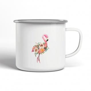 Flamingo Blumen Emaille Becher Motiv Tasse TE0074
