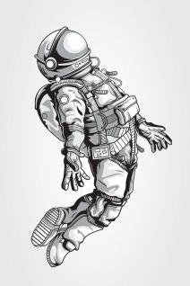 Astronaut Weltraum Illustration Kunstdruck Poster P0389